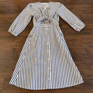 Madewell shimmer stripe cutout midi dress Sz 4